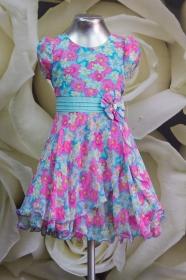 Платье детское 061/4 бирюза с розовым