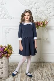 Школьное платье пл/016/1 синее