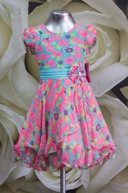 Платье детское 061/3 бирюза с кораллом