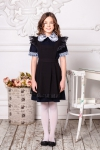 Школьное платье с коротким рукавом в комплекте черный и белый фартук