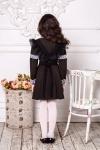 Школьное платье с коротким рукавом коричневого цвета